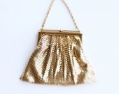 Vintage 40's Whiting and Davis Gold Mesh and Rhinestone Frame Purse