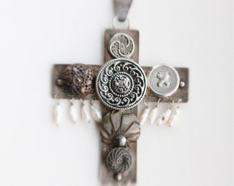 Vintage 90's Handmade Sterling Silver Etched Cross Pendant with Wired Vintage Buttons and Fresh Water Pearls