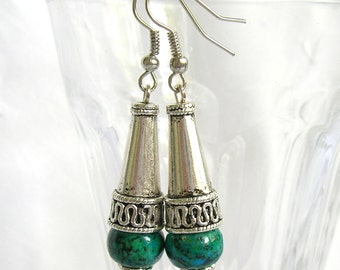 dangle earrings chrysocolla earrings stone jewelry silver boho earrings stone earrings bali style cones