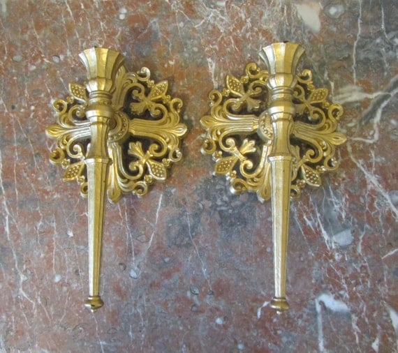Gold Wall Sconce Candle Holder : Gold Candle Holders Wall Sconce Dart 1963 by FineRomance on Etsy