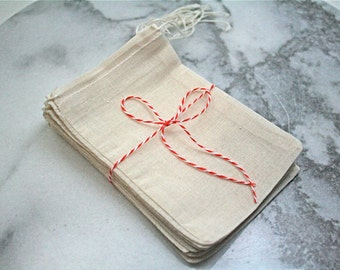 Muslin favor bags, 4x6. Set of 25.  Unprinted natural cotton drawstring bags.  Party favor or gift bags.