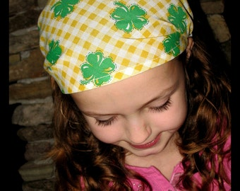 BANDANA- Four Leaf Clover-IRISH Luck-fabric covered elastic back- by Lambs & Lollipops - one size fits girls, teens, adults / Ready To Ship
