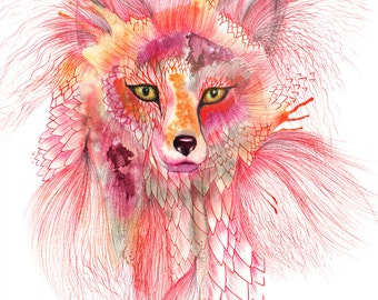 "Fox, Foxy Fur watercolor wild animal art by Ola Liola, size 8""x10""  (No. 26)"