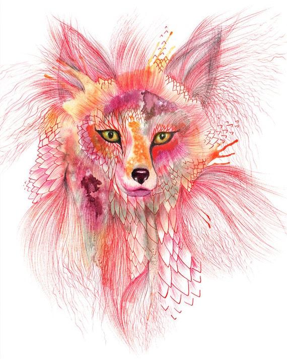 "Fox, Foxy Fur watercolor wild animal art by Ola Liola, size 8""x10""  (No. 26)"