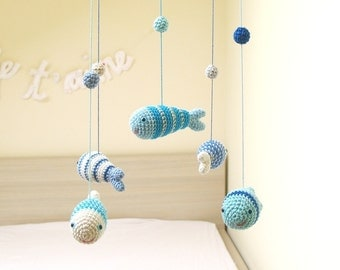 Under the Sea Baby Mobile, Nursery Mobile, Baby Boy Mobile, Blue Nursery Decor Shower Gift by Cherrytime