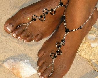 Black Crystal Barefoot Sandals Happi Feet Handmade Pair Nude Beach Wedding Shoes The Debbie HF14