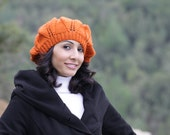 CLEARANCE - Knit Slouch beret Hat for Women in Pumpkin color