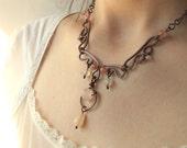 Pink feminine necklace, rose quartz cherry quartz rustic wedding jewelry, love stone gift