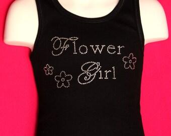 Flower Girl Chic Rhinestone Tank Top or Tee children's sizes XS-XL