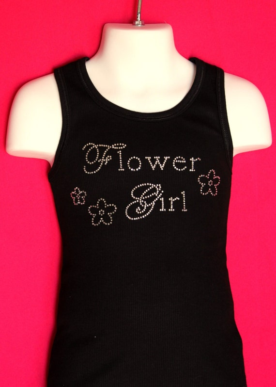 Flower Girl Chic Rhinestone Tank Top or Tee children's sizes XS-XL