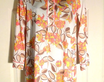 Emilio Pucci Tunic Pants Vintage Floral Pajamas Set Formfit Rogers Small 1960s Designer Psychedelic Pink Orange Yellow Flowers PJ top bottom