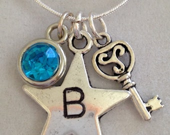 Initial B Star and Crystal Necklace