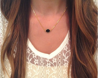 Dainty  Round Black Necklace