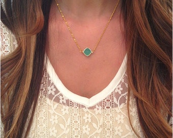 Dainty Mint Diamond Necklace