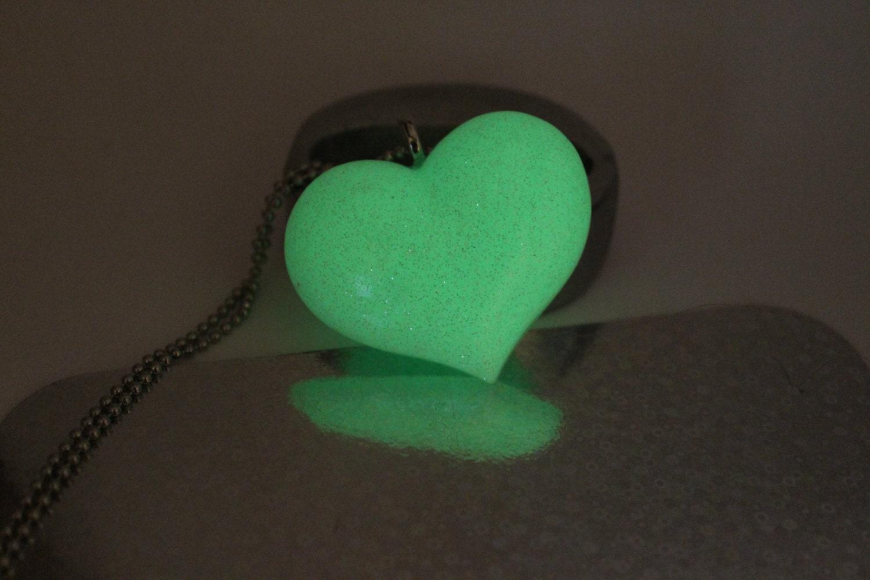 Glow in the dark heart necklace resin heart necklace my for Glow in the dark resin