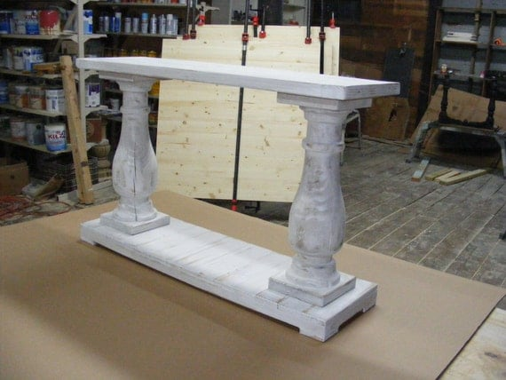 whitewashed console table handcrafted beautiful by. Black Bedroom Furniture Sets. Home Design Ideas