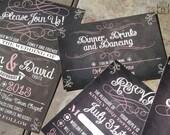 Chalkboard Art Script and Flourish Wedding Invitations. Trendy chalkboard wedding invitations. Custom fonts, colors & wording FREE