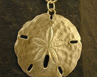 14K Gold Atlantic Sand Dollar on a 14K Gold Chain