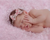 Fabric  Bow Baby Headband - Pink and Gray Scroll