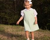 Girls Lime Green Seersucker Jumper Dress -- can be monogrammed --