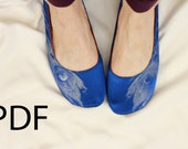 PDF US Sizes 8-9.5 Sewing Pattern for Round Toe Strapless or Ballet Ribbon Slippers