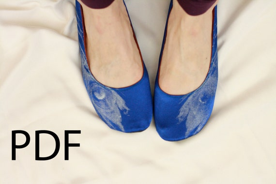 PDF US sizes 6-7.5 Sewing Pattern for Round Toe Strapless or Ballet Ribbon Slippers