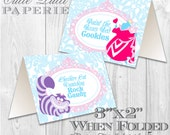 Alice in Wonderland Party, Mad Hatter Tea Party - PRINTABLE TENT SIGNS - Cutie Putti Paperie  - Cutie Putti Paperie