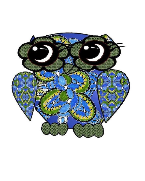 fun owl poster, blue owl art, whimsical owl painting, Custom Sizes Art Poster, owl painting, wall art bird, bird contemporary art