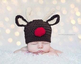 Little Mr. Reindeer Beanie in Chocolate Brown, Tan and Red Available in Newborn to Child Size- MADE TO ORDER