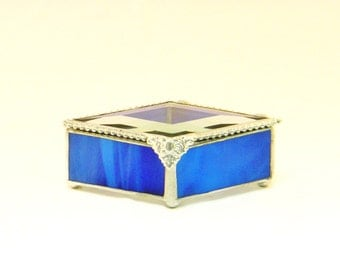 "Glass Box, Victorian Style Stained Glass Jewelry Boxes, 2 X 4"", Gift for Her, Diamond Shape, Bridesmaid Gift, Ring Bearer Box, Fall Wedding"