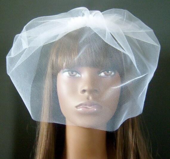 Glam White Tulle Birdcage Veil