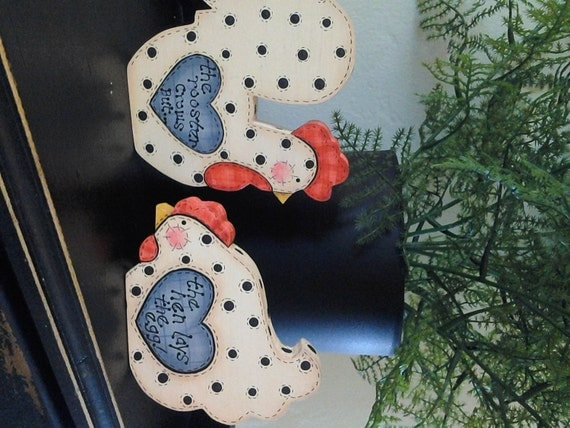 primitive country hand painted wood chicken and rooster
