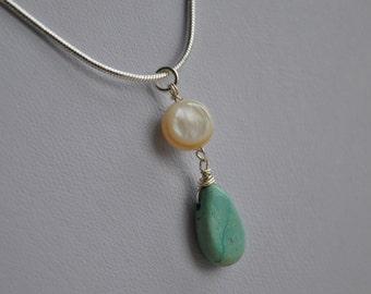 Handmade pendant - Semi precious stone tear drop