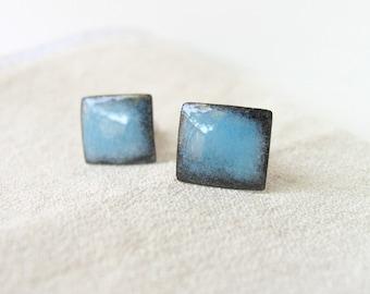 Cuff links wedding light blue and black - enamel cufflinks - artisan jewlery by Alery