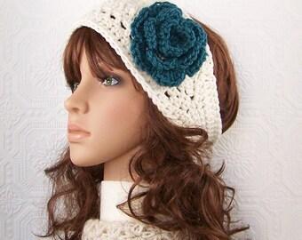 Crochet headband, headwrap, earwarmer - ivory - handmade Winter Fashion Winter Accessories Sandy Coastal Designs - made to order