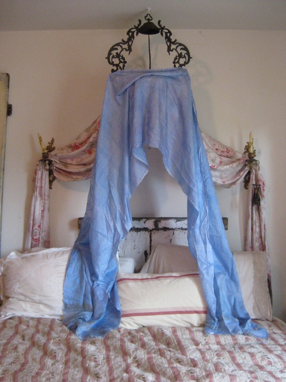 Bed Canopy Gypsy Vintage gypsy blue silver metallic trim silky bed ...