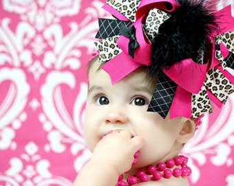 Baby Bows, Toddler Bows, Girls Hair Bows, Hair Clip, Black Cheetah Leopard Shocking Pink Over the Top Boutique Hair Bow, 6 Inch Bows