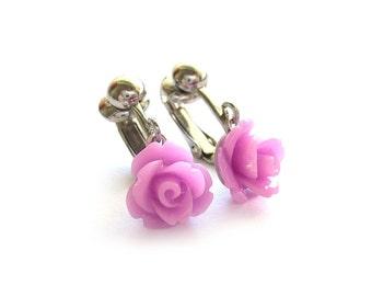 Purple Rose Clip On Earrings - Non Pierced