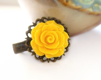 Yellow Rose Antique Brass Alligator Hair Clip