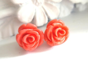 Peach Carved Rose Stud Earrings