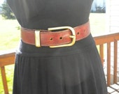 Vintage Brown Leather Hippie Belt With Brass Buckle Made In Italy
