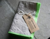 RESERVED 12 Large Natural Linen Napkins - Pure Linen Eco Cloth, Oatmeal w/Wide Stitch