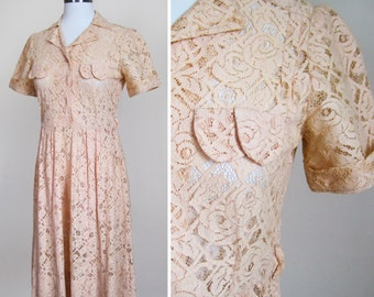 1930s Lace Dress Nude Rose Trellis 30s Dress SCALLOP POCKETS