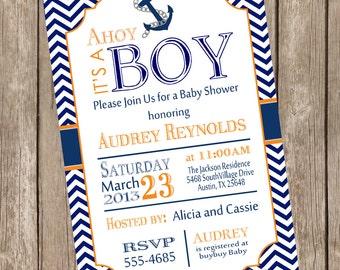Chevron Ahoy it's a boy baby shower invitation, orange, navy, anchor, nautical, printable invitation no1