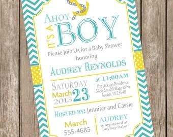 Chevron Ahoy it's a boy baby shower invitation, teal, yellow, anchor, nautical, printable invitation