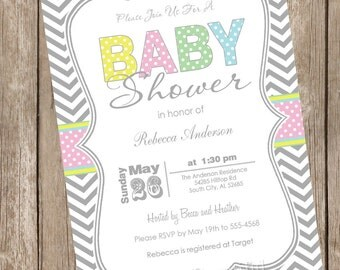 Pastel chevron girl baby shower invitation, chevron, pastel, typography, chevron invitation, printable invitation