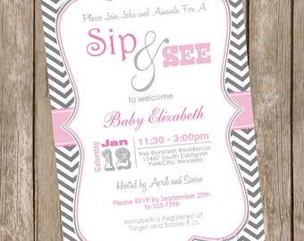 Girl Sip and See Baby Shower Invitation, pink, gray, grey, chevron, sip and see, typography, printable,printable invitation