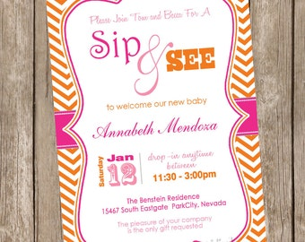 Sip and See Baby Shower Invitation Pink and Orange Chevron printable invitation 20121228-K1-1G