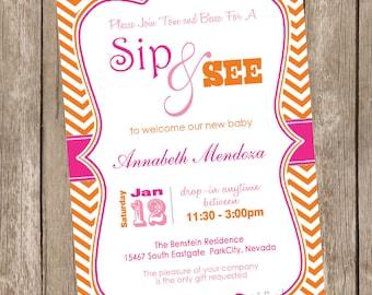 Sip and See Baby Shower Invitation Pink and Orange Chevron printable invitation 20121228-K1-1G