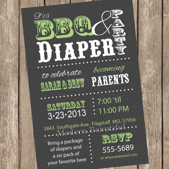Couples Bbq Baby Shower: Couples BBQ And Diaper Baby Shower Invitation, Grey, Green